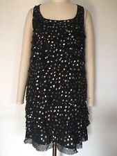 BNWOT Designer DKNY Pure Silk Metallic Spot Dress 4US 10AUS