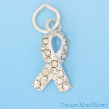 LUNG CANCER AWARENESS RIBBON .925 Sterling Silver Charm CLEAR SWAROVSKI CRYSTAL
