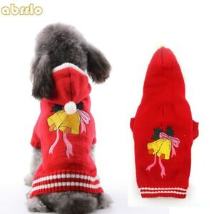 Christmas Red Dog Sweater Knit Hoodie Clothes Xmas Bells Puppy Cat Coat Costumes