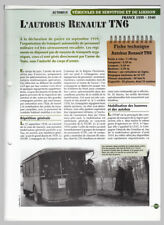 AUTOBUS BUS RENAULT TL6 TRAIN ARMEE ARMY FRANCE WWII FICHE