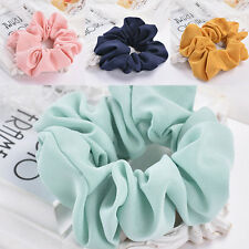 Plain Colours Chiffon Scrunchies Hair Ring Hair tie Ponytail Holder Rubber Band