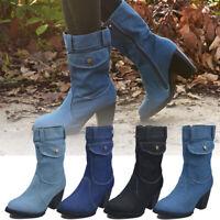 Women's Denim Mid Calf Boots Ladies Block Heel Zipper Round Toe Casual Shoe