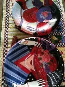 Red Hat Society Lot Of 2 Susan Winget International Certified Salad Plates