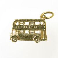 GOLD LONDON BUS CHARM.   HALLMARKED 9 CARAT GOLD LONDON BUS CHARM