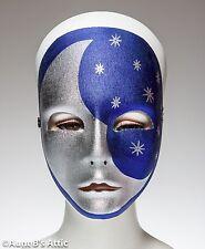 Mardi Gras Mask Blue & Silver Moon & Stars Italian Fabric Face Mask