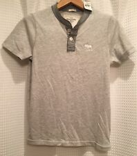 Abercrombie & Fitch~Mens S Small~Muscle Fit Henley Tee Shirt Top~Gray~Cotton