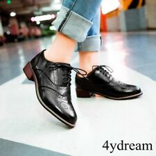 Womens Retro Lace Up Brogues Girl College Low Heels Oxford Shoes #Size run small