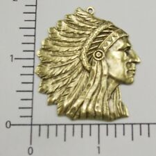 American Indian Head Pendant 39223 Brass Oxidized Large