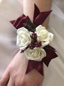 1x Ivory Rose Burgundy Berries Graduation Wedding Bridal Flower Wrist Corsage