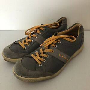 Mens Ecco Street Premier Spikeless Golf Shoes 44 Gray/Orange Leather  /A2