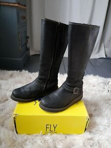 Fly london black boots size 4