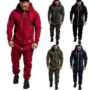 Men's Hooded Jumpsuit Sweatshirt Zipper One Piece Winter Hoodies Casual Playsuit