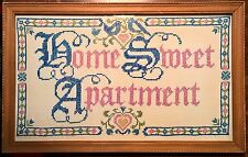 "Cross Stitch Vintage Retro ""Home Sweet Apartment"" Wood Frame Shabby Chic"
