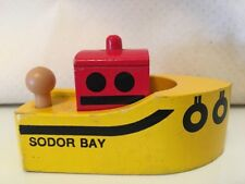 Thomas Train Sodor Bay Tug Boat Yellow/Red Wooden Wood Britt Allcroft