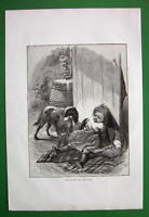 STRANGE DOG Little Girl Scared - VICTORIAN Antique Print Engraving