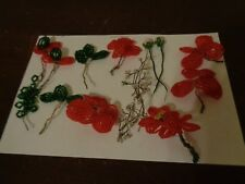 Vintage French Beaded Glass Single Red Flowers & Leaves Hand Made 14 Pc