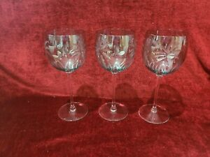 """Lenox British Colonial Scenic Collection 8 1/2"""" Wine Glasses Set of 3 Green"""