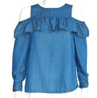ANN TAYLOR LOFT Blue Chambray Ruffle Cold Shoulder Blouse Top S/P 3808