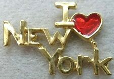I Love New York Lapel or Hat Pin Love is Heart Gold Plate by Osc Made in Usa New