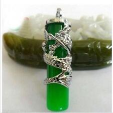 Hot Fashion beautiful Silver Dragon Green Jade Pillar Pendant Necklace Amulet