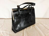 Vintage ELBIEF Made in England Black Leather Purse with Suede Interior Gold Tone