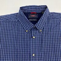 Wrangler Button Up Shirt Mens 2XL Short Sleeve Navy Blue White Wrinkle Resistant