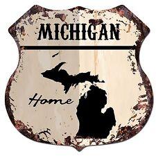 BP0138 HOME MICHIGAN MAP Shield Rustic Chic Sign Bar Shop Home Decor Gift
