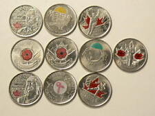 🍁 Canada Colorized 25 Cents Lot of 10 Different Commemoration Coins #2590