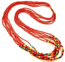 1 Multi Strand Red & Rainbow Wood Beaded Fashion Necklace - # B173