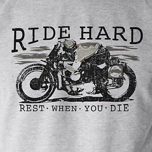 Ride Hard... Motorcycle  Classic Vintage Biker Distressed Print Grey T-Shirt