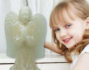 Mini Angel Candle - white wash finish - 10 cm