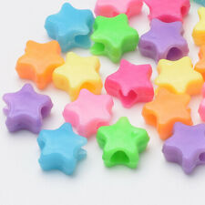 250 pc Plastic Acrylic Mix Color Star Pony Beads Fun Kids Crafts 10x11x5mm USA