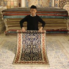 Yilong 3'x5' Small Handmade Carpets Living Room Hand Knotted Silk Porch Rug 064B