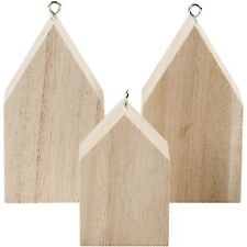 House Shape Hanging Decoration x 3 - Wood Houses Paint Decorate Craft Christmas