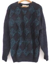 2aafad27a2c Vtg 80s McGregor Blue Teal Diamond Check Grunge Hip Hop Streetwear Sweater  M L