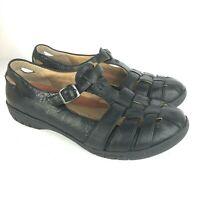 Clarks Unstructured Women 9 sandal flat black woven leather t strap comfort