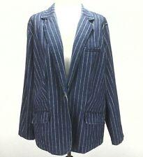 LRL LAUREN JEANS CO Denim Blazer WOMEN'S jacket Pinstripe Blue One Button 16 W