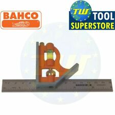 Bahco 6in Combination Set Square 150mm Stainless Steel Ruler Spirit Level CS150