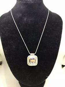Vintage costume jewellery Cut Glass Silver Tone Necklace