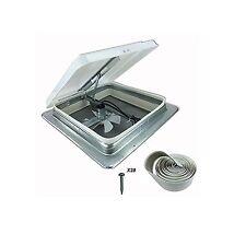 New RV Roof Vent Fan w/Butyl Install Kit 14in 12V Camper Trailer MotorHome 74112