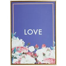 Beautify Canvas Wall Art Print Quote Love Navy & Floral With Antique Gold Frame