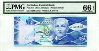 BARBADOS $2 DOLLARS 2013 CENTRAL BANK PMG GEM UNC PICK #73 VALUE $66