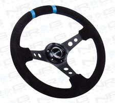 NRG Steering Wheel Deep Dish 350mm Black Suede / Black Spokes & Double Blue Mark