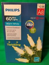 NEW Philips Twinkling 60 Mini Lights Warm White Indoor/Outdoor LED Christmas