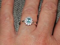 PARAIBA APATITE & NATURAL CAMBODIAN ZIRCON HALO RING-SIZE T-0.850CTS