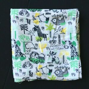 Gymboree Baby Boy Black White Jungle Giraffe Lion Muslin Swaddle Blanket RARE