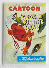 Goggle Fishing Bear FRIDGE MAGNET (2.5 x 3.5 inches) movie poster