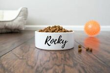 """Personalized Pet/Cat/Dog Bowl with Name - Ceramic - 6"""" or 7"""" - White"""