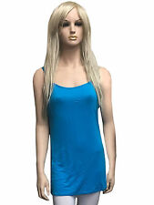 Ladies Girls Plain Stretch Tops Long Strap Sleeveless Cami Vest Tank Top 8-14