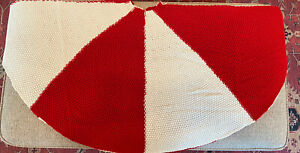 Farmhouse Knit Christmas Tree Skirt 48 inch Red & White Large Knitted